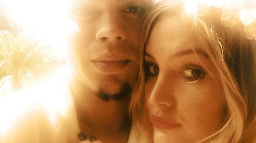Evan Ross and Ashley Simpson's engagement Twitter pic