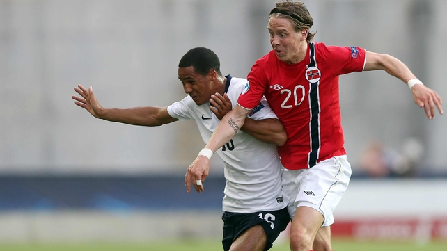 Stefan Johansen in action for the Norway Under-21s