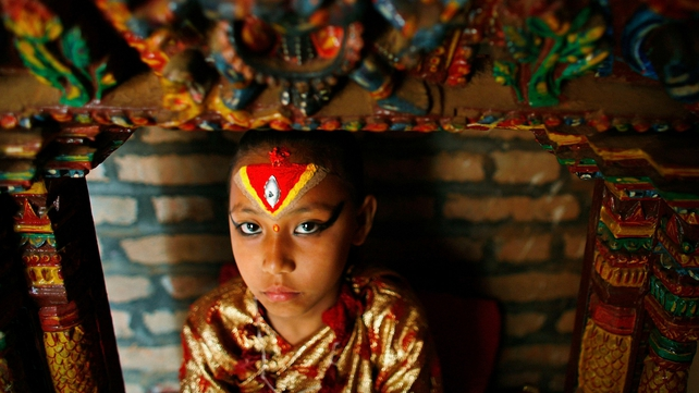 The living goddess lives in a palace-temple in ancient Kathmandu's Durbar Square