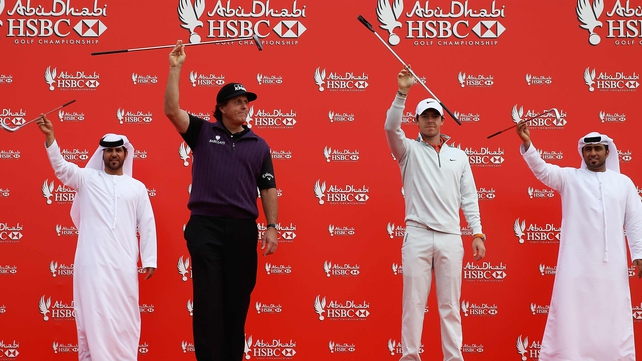 Phil Mickelson and Rory McIlroy ahead of the Abu Dhabi HSBC Golf Championship