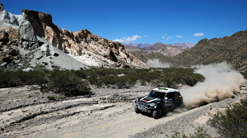 Stephane Peterhansel and Jean Paul Cottret of France compete on Day 3 of the Dakar Rally in Uspallata, Argentina.