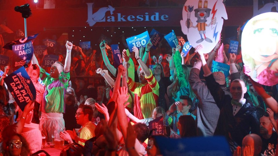 Fans watch the action at the BDO World Championships at the Lakeside Complex, Surrey