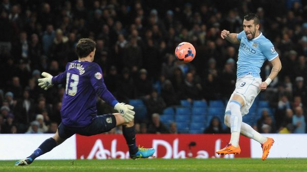 Alvaro Negredo scored with this effort just after the restart to give City a two-goal buffer