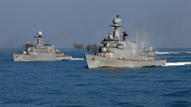 South Korean ships taking part in a naval exercise in the Yellow Sea in December