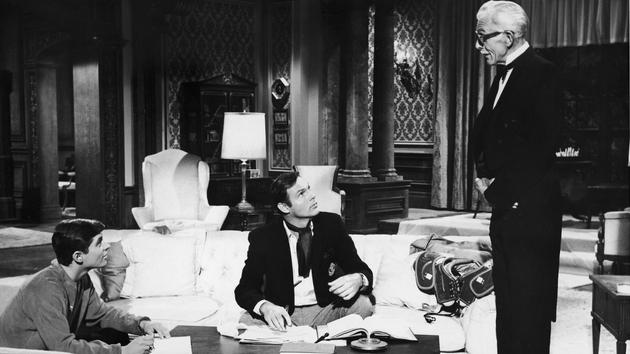 Batman stars Burt Ward (Robin), Adam West (Batman) and Alan Napier (Alfred)