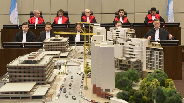 A large scale model of Beirut is on display in the courtroom in The Hague