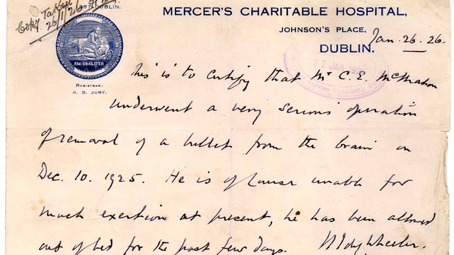 Surgeon's letter stating that Charles Eugene MacMahon underwent an operation to remove a bullet from his brain
