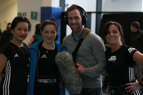 Programme Maker Declan Brennan with members of the Dublin Female Strength Club