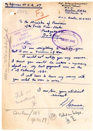 Letter written by William Coman in 1943 informing pension authorities in Ireland that he was now being held as a prisoner of war in Germany