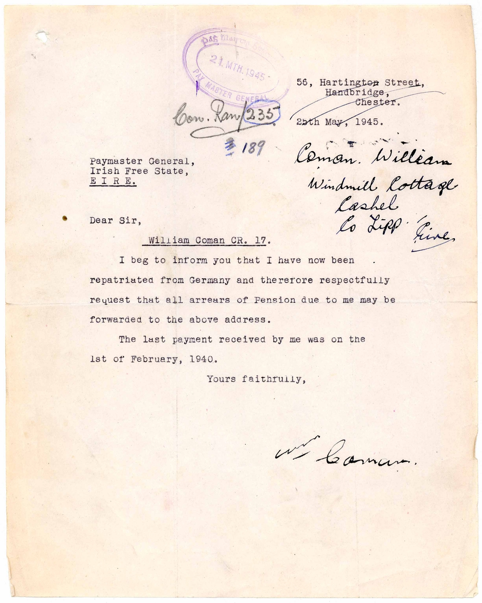 Letter from William Coman informing the pension authorities of his repatriation from Germany, following the end of the Second World War