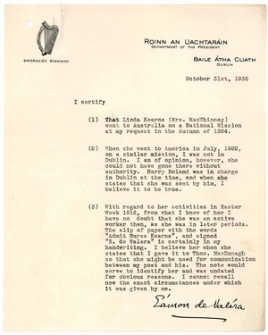 Signed typed letter from Eamon de Valera dated 31 October 1935 regarding details of Linda Kearns MacWhinney's service and verifying a handwritten note as being in his handwriting