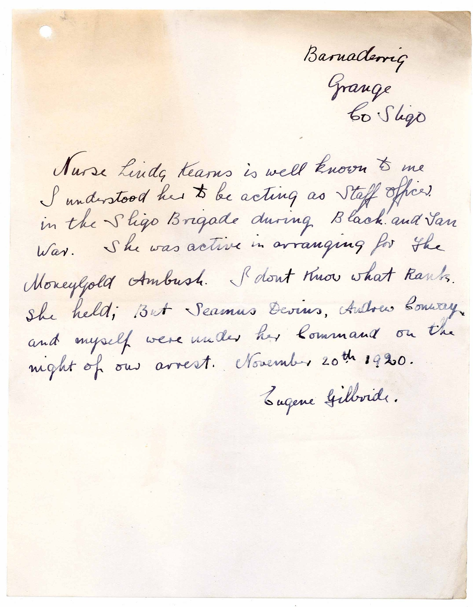 Undated letter from Eugene Gilbride verifying Linda Kearns MacWhinney's position as an officer with Sligo Brigade IRA at the time of her arrest on 20 November 1920