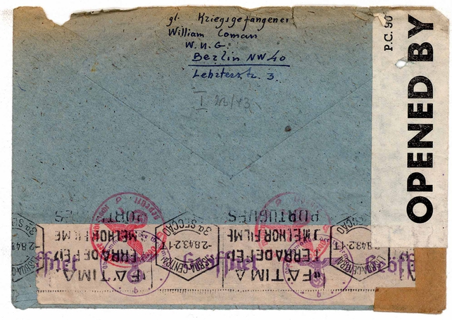 Reverse of envelope from William Coman, who joined the British army in 1916