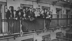 Irish prisoners on the balcony of 'E' Block in Stafford Jail in 1916. Eamonn Bulfin is 3rd from left in the back row (Pic: Bureau of Military History Photographic Collection)