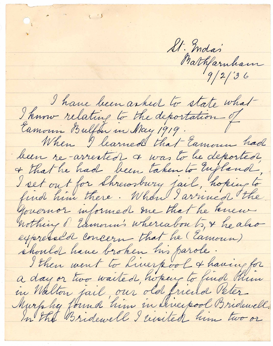 First page of letter of 10 February 1936 from Eamonn Bulfin to the Secretary, Office of the Referee Military Service Pensions Act, 1934 regarding his appointment as Dáil Éireann representative in Argentina between May 1919 and June 1922