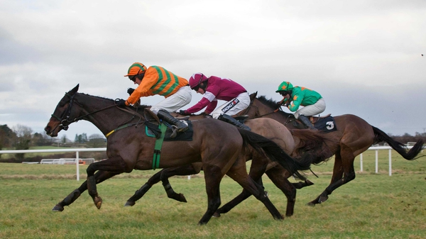 Texas Jack, Last Instalment and Baily Green (left to right) fought out an exciting finish of the Kinloch Brae Chase