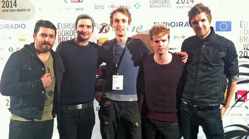 2FM's Dan Hegarty with Kodaline at the Eurosonic Music Festival