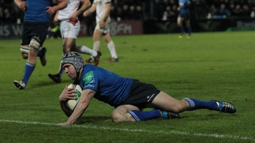 Isaac Boss crosses the whitewash for Leinster