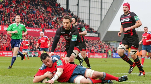 James Coughlan scores a first-half try for Munster
