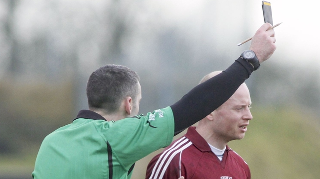 Galway's James Kavanagh is shown the black card by referee John Gilmartin