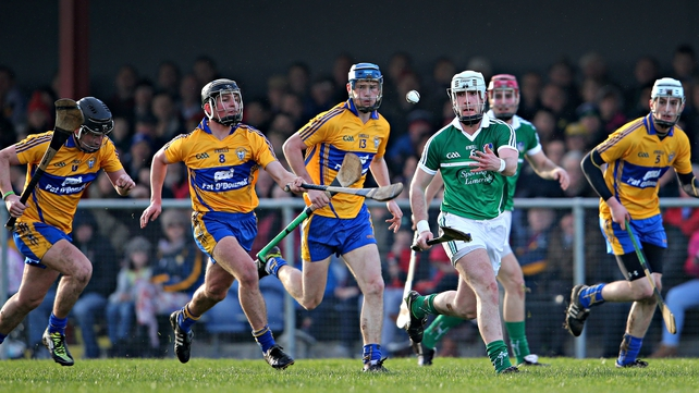 Limerick's Cathal McNamara is pursued by Clare's Nicky O'Connell, Liam Markham, Bobby Duggan and Conor Cleary
