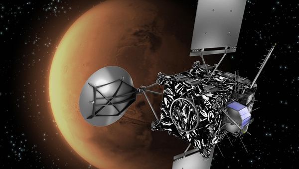 An artist's impression of Europe's Rosetta spacecraft with Mars in the background