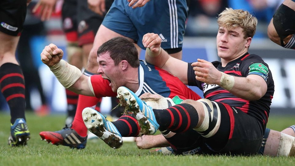 Peter O'Mahony scores a try for Munster in the Heineken Cup against Edinburgh