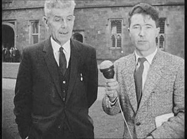 Professor Martin Newell, President of UCG with RTÉ Reporter Michael O Briain (1964)