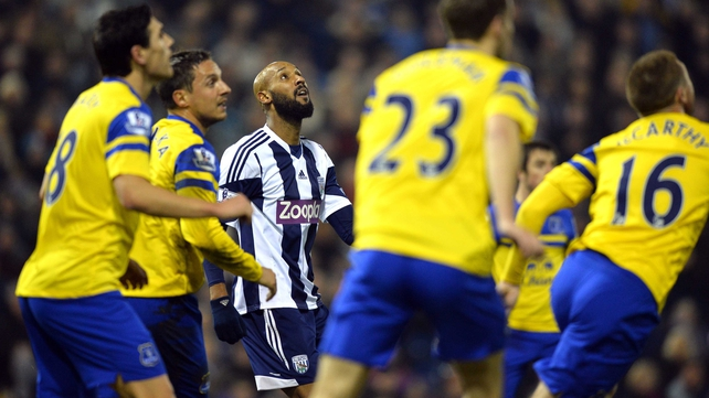 Nicolas Anelka is well marshalled by the Everton players at The Hawthorns