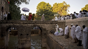 Ethiopian Orthodox Christians pray during the Timkat festival in Gondar. Timkat is the Ethiopian Orthodox Christian festival which celebrates the baptism of Jesus in the Jordan river