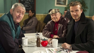 Beckham - Sitting in a greasy spoon café with Del (David Jason) and Rodney (Nicholas Lyndhurst)
