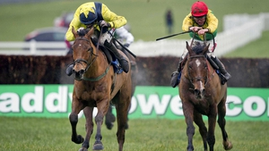 Sizing Gold (r) trails in behind Foxrock at Naas