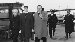 Mr Paisley and two other Ulster Protestant clergymen at London Airport after shouting disapproval at Dr Ramsey, Archbishop of Centerbury, who was bound for Rome in 1966