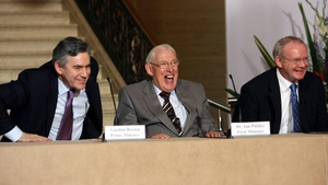Gordon Brown, Mr Paisley and Northern Ireland's Mr McGuinness smile during a reception at Stormont, Belfast for the US-Northern Ireland Investment Conference