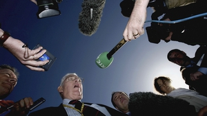 Mr Paisley speaks to the media during the second day of multi-party negotiations in St Andrews in 2006 to attempt to restore devolution