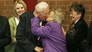 Mr Paisley kisses his wife Eileen Paisley in Ballymena after securing re-election in March 2007