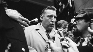 Mr Paisley at Australia House in 1970 where he has been in discussion with Australian officials who banned his visit to Australia because it coincided with a visit from the Pope