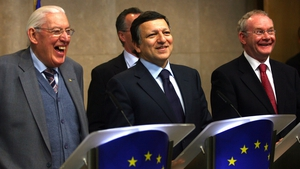 European Commission Chairman Jose Manuel Barroso gives a press conference with Mr Paisley and Mr McGuinness in January 2008