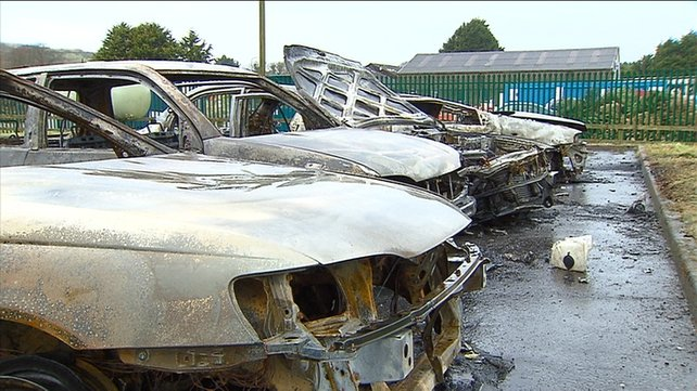 It is alleged that Sean Byrne set fire to six cars at the local fire station