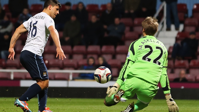Sergio Aguero scores Man City's second goal at Upton Park