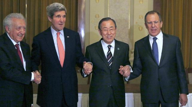 UN mediator Lakhdar Brahimi along with John Kerry, Ban Ki-moon and Sergey Lavrov pose for photographs