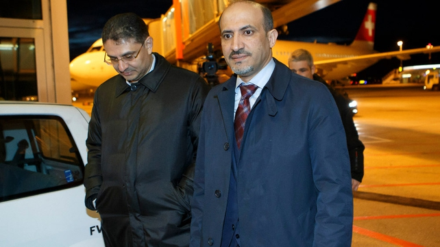 Ahmad Jarba Syria's opposition National Coalition leader and general secretary Bader Jamous (L) arrive for the talks