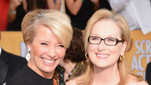 Emma Thompson, Meryl Streep share a giggle on the red carpet at the SAG Awards