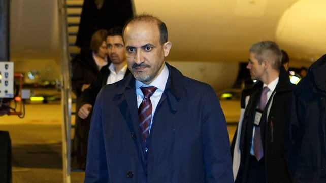 President of the Syrian National Coalition Ahmed al-Jarba arrives at Geneva International Airport