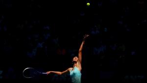 Maria Sharapova serves in her match against Karin Knapp during the Australian Open at Melbourne Park