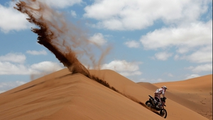 Pablo Rodriguez of Argentina competes in stage 12 on the way to La Serena in the Dakar Rally in El Salvador