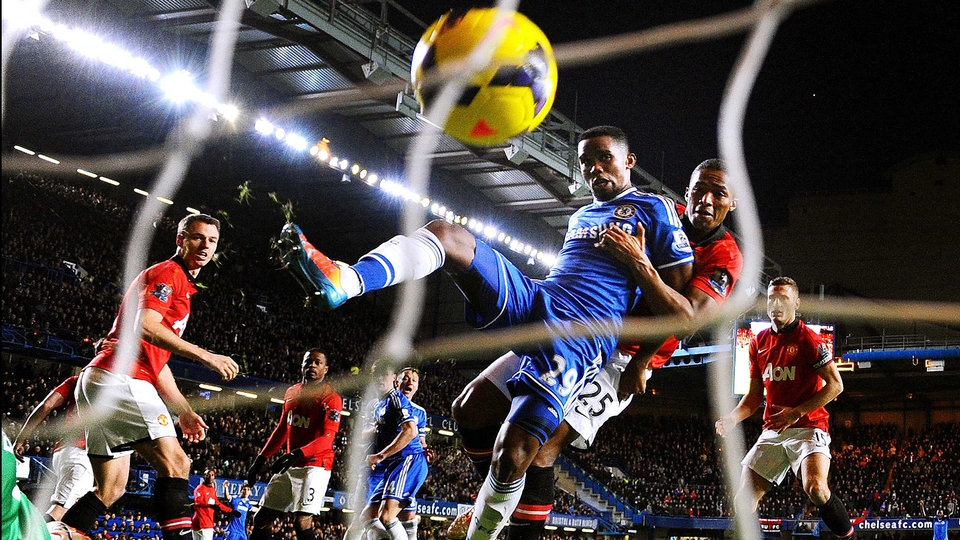 Samuel Eto'o of Chelsea scores his hat trick goal against Manchester United during the Premier League match at Stamford Bridge