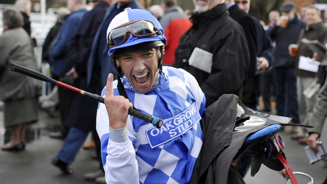 Frankie Dettori celebrates after his winning return at Lingfield