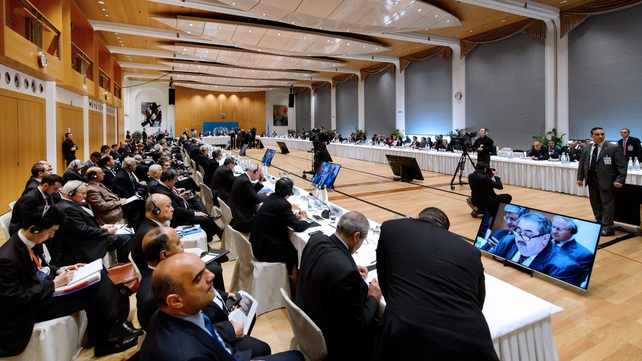 A general view of the Geneva II peace talks dedicated to the ongoing conflict in Syria