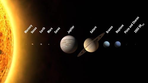 An artist's rendition shows the solar system with and position of Ceres as a dwarf planet